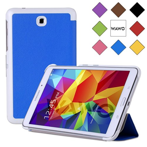 Wawo Creative Tri-Fold Cover Case For Samsung Galaxy Tab 4 7.0 Inch Tablet - Sky Blue front-216889