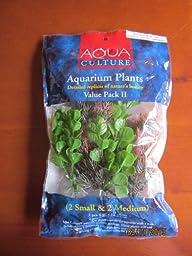 Aqua Culture Foxtail & Moneywort Artificial Aquarium Plants, Value Pack II