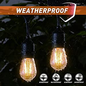 48Ft LED Outdoor String Lights with 15 Dimmable S14 Edison Bulbs, Shatterproof Commercial Grade Hanging Patio Lights for Deck Backyard Bistro Cafe Pergola Gazebo Wedding Garden Vintage Light Decor (Color: White)