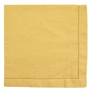 Gold Hemstitch Textured Cloth Dinner Napkins Set of 12