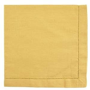 Gold Hemstitch Textured Cloth Dinner Napkins Set of 12