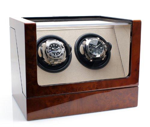 Heiden  Vantage Double Watch Winder with LCD - Burlwood