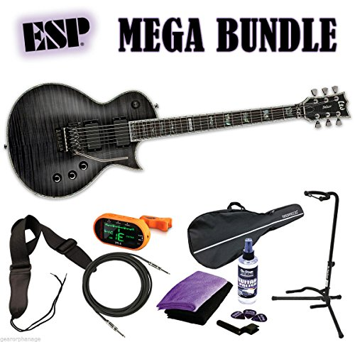 ESP LTD EC-1000FR STBLK See Thru Black Deluxe *NEW* Floyd Rose MEGA BUNDLE 2 (Ec 1000 Floyd compare prices)