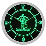 Captain Morgan Spiced Rum Neon Sign Bar Wall Clock - Green