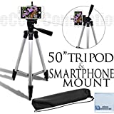 "50"" Aluminum Camera Tripod and Universal Smartphone Mount + an eCostConnection Microfiber Cloth"