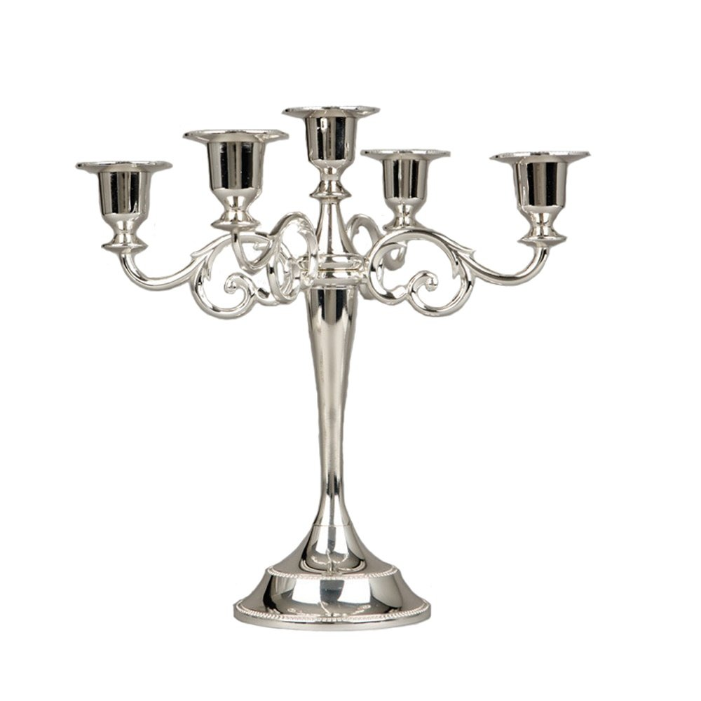 Happy Lifestyles Classic Beautiful Metal Candle Stick Candle Holder 5 Stands Silver
