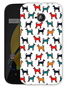"""Colorful Hounds Dogs Printed Designer Mobile Back Cover For """"Motorola Moto E"""" By Humor Gang (3D, Matte Finish, Premium Quality, Protective Snap On Slim Hard Phone Case, Multi Color)"""