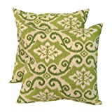 Greendale Home Fashions Indoor/Outdoor Accent Pillows, Green Ikat, Set of 2