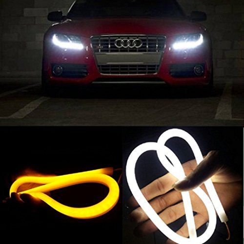 AGPtek Dual Color White-Amber Car Switchback LED Tube Strip Light Headlight DRL Daytime Running Light For Audi-Style Tube (2 x 30cm) (Led Light Strip For Headlights compare prices)