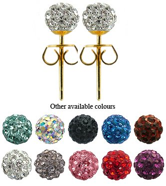 Crystal Stud Earrings by GlitZ JewelZ © - 1/4' (6MM) - Silver 18K Gold plated, looks like real Gold - made with over 70 crystals - bling bling!! Comes packed in a lovely velvet pouch - Choose the colour & size from the menu below