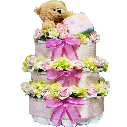 Sweet Baby Diaper Cake Gift Tower with Teddy Bear, Boy Blue or Pink Girl - 1