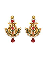 Traditional Ethnic Diya Dangler Earrings With Green & Red Colored Crystal & Pearl For Women By Donna ER30005G