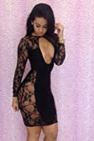 Rsan Sexy Cut Out See-through Lace Dress Clubwear (Black, Asia Large) from Rsan