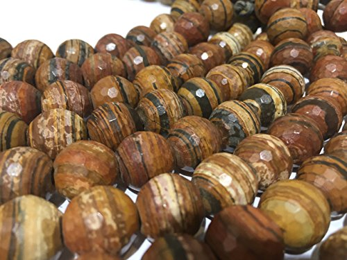 [AfricaGemsUSA] ( 2.5mm Large Hole) African Petrified Wood 12mm Faceted Round Beads. Approx. 8