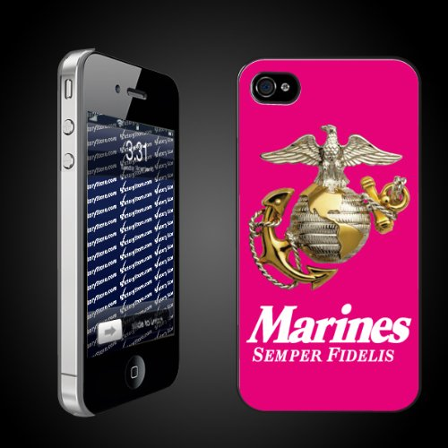 Military iPhone Case Designs Marines Semper Fidelis (Pink)   iPhone Hard Case   CLEAR Protective iPhone 4/iPhone 4S Case