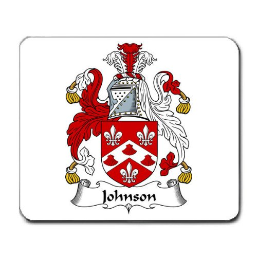 Johnson England Family Crest Coat Of Arms Mouse Pad front-993335