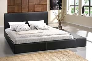 polsterbett designer lederbetten bettgestell leder bett in schwarz 140x200 160x200. Black Bedroom Furniture Sets. Home Design Ideas