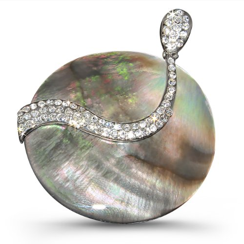 Rhodium Plated Shell Round Pendant with Cz Stones