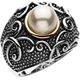 14K Yellow Gold and Sterling Silver 8.50 MM Fresh Water Cultured Pearl Ring