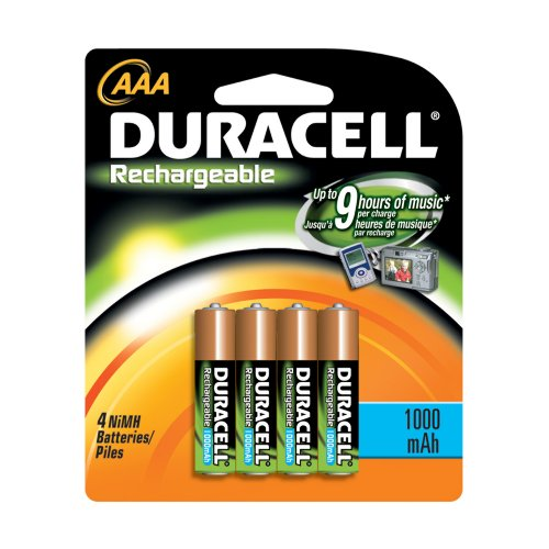 Duracell DC2400 Rechargeable Batteries, NiMH, AAA Size, 4-Count Packages (Pack of 2)