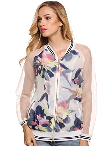Locry Women's Organza Spliced Watercolor Print Bomber Jacket with Zip Pockets