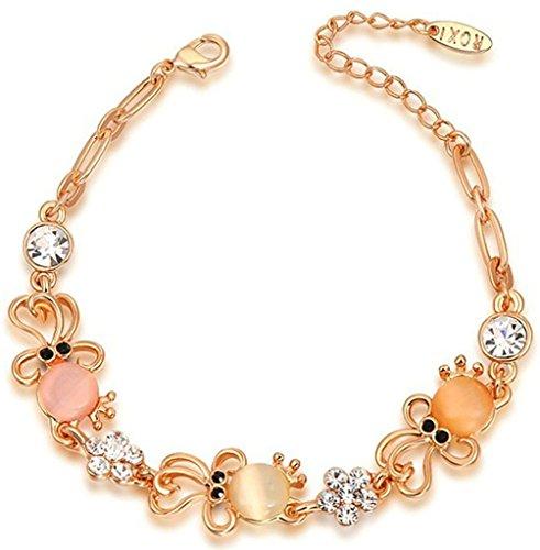 alimab Jewelry-Braccialetto placcato oro Octopus opale Link con zirconi oro rosa