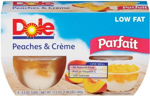 Dole Parfait, Peaches & Crème, 4-Count, 4.3 Oz Cups (Pack Of 6)