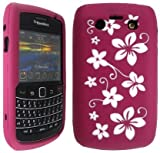Wayzon Blackberry Bold 9700 Case Cover Skin Pouch Pink Silica Rubber With White Flower Pattern On Back