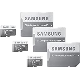 Samsung PRO 16GB Class 10 MicroSDHC Memory Card with Adapter (Up to 90MB/s) 3-Pack