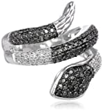 Sterling Silver Black and White Diamond Snake Ring (1/4 cttw, I-J Color, I3 Clarity)