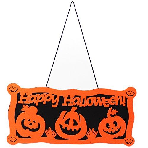 Happy Halloween door tag Halloween doorplate Halloween Decorative Hanging Signs Orange Pumpkin Halloween Doorplate Fall Door (Scary Halloween Pumkins)