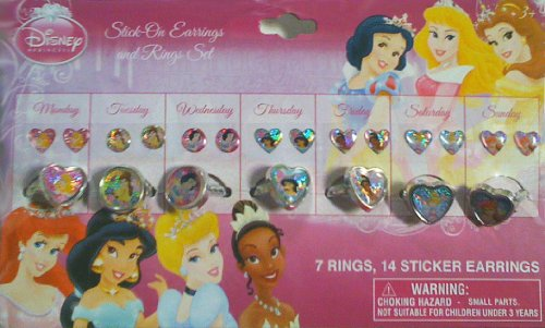 Disney Princess Jewelry Set - 7 Rings and Stick-on Earrings - 1