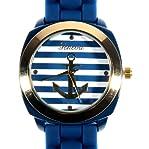 Geneva Anchor Stripe Face Gold Tone Bezel Silicone Band Wrist Watch