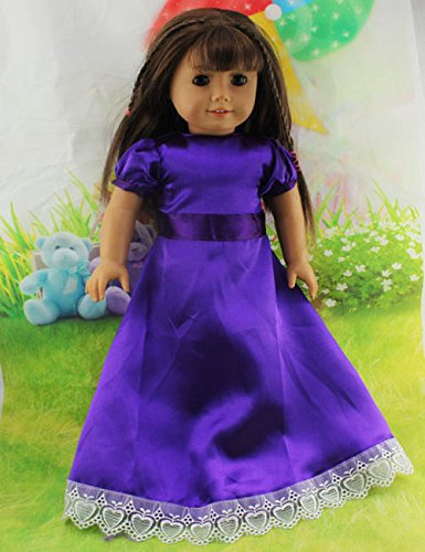 Teenitor(TM) Purple Dress Fits 18 Inch Girl Dolls (Shipping By FBA)