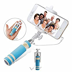 Mini Selfie Stick 13.5cm drive by wire for IOS/Androiod extendable mini selfie monopod, Mini Wired Selfie Stick Handheld Monopod Fold Self-portrait Stick Holder for all Smartphones