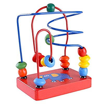 Silvercell Toddler Kids Baby Wooden Education Toys Beads Around Maze Game Toys
