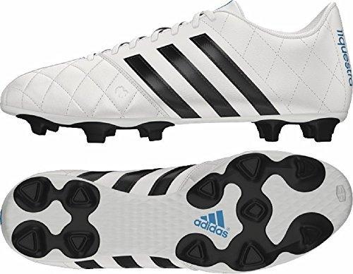 Adidas-Adidas 11Questra FG Scarpe da calcio in pelle da uomo in pelle bianco B34123, Uomo, Adidas 11questra Leather Football Boots, White/Black, UK7.5 /41 1/3 F