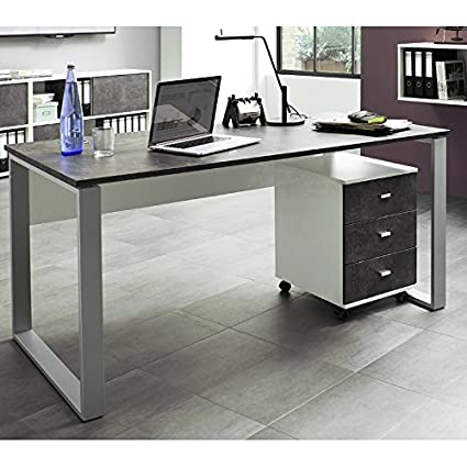 Buromöbel Schreibtisch Set ● weiß Basalto dunkel ● Schreibtisch mit Metallkufen & Rollcontainer ● Computer & Laptop Tisch ● Made in Germany
