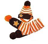 BuyHere Cute Unisex Baby Smile Star Knitting Unisex Baby Cap with ScarfOrange