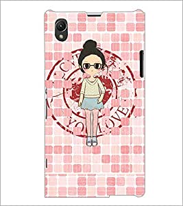 PrintDhaba Girl with spectacles D-4065 Back Case Cover for SONY XPERIA Z1 (Multi-Coloured)