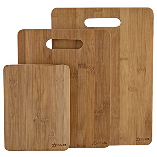 ZenWare 3 Piece All Natural Lightweight Large Bamboo Cutting Board Set - 1