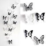 Haimoburg 36er-Set 3D Schmetterling Aufkleber Wandsticker Wandtattoo Wanddeko für Wohnung