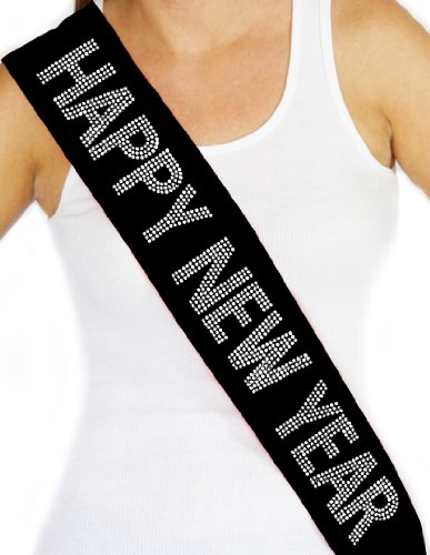 RhinestoneSash.com Women's Happy New Year Rhinestone Sash Large Black