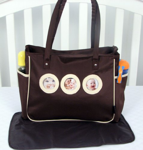 Soho Your Cute Pictures Diaper Bag With Changing Pad 2 Pieces Set (Cream And Brown) front-3369