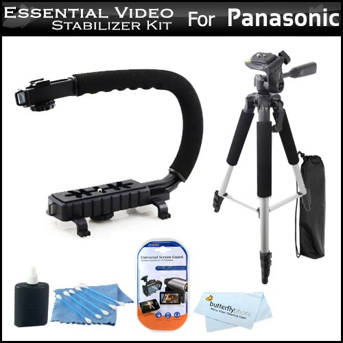 =>  Essential Video Stabilizer Kit For Panasonic SDR-T70K Camcorder Includes AXIS-G Camcorder Action Stabilizing Handle + 57 Full Tripod w/Case + LCD Screen Protectors + 3pc Cleaning KIt + MicroFiber Cloth