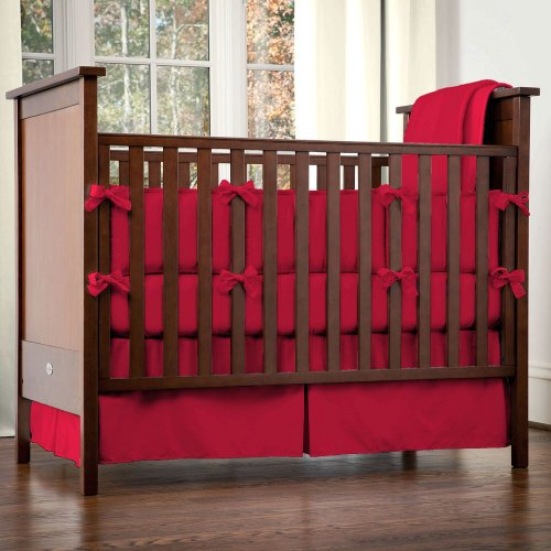 Solid Red Crib Bedding front-1021392