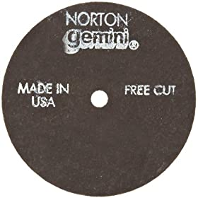 Norton Gemini Fast Cut Small Diameter Reinforced Abrasive Flat Cut-off Wheel, Type 01, Aluminum Oxide