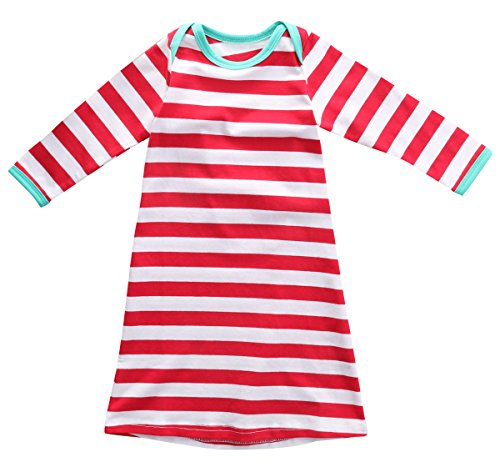 Baby Boys Girls Christmas Cotton Jumpsuit Bodysuit Red Striped Romper (0-6 M, Red)
