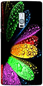 Snoogg Colorful flowers and water droplets Hard Back Case Cover Shield For Oneplus Two