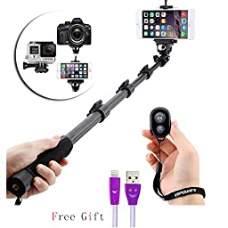 EpochAir Selfie Stick, [ New Version Cell Phone Selfie Sticks] Perfectday Foldable Extendable Bluetooth Selfie Stick with Built-in Remote Shutter for iPhone 6s, 6, 6 Plus, 5, 5s, 5c - Black